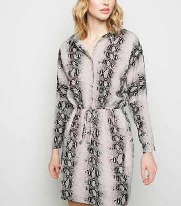 AX Paris Light Grey Snake Print Button Up Dress