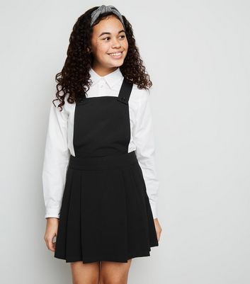 Girls Black Pleated Pinafore Dress
