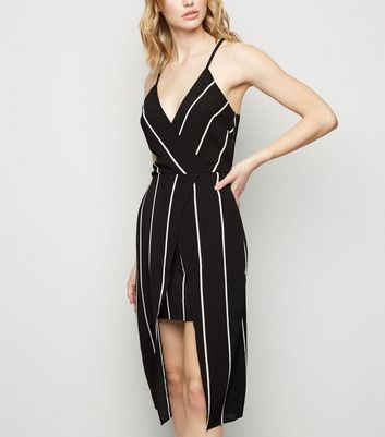 AX Paris Black Stripe Wrap Dress