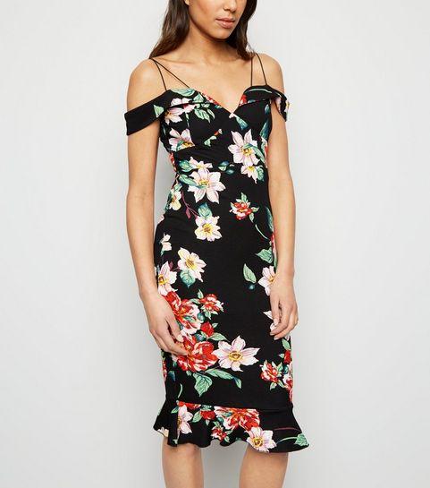 497cce2ecaa ... AX Paris Black Floral Cold Shoulder Bodycon Dress ...