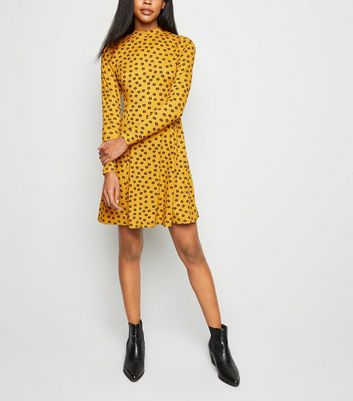 Yellow Floral Soft Touch Turtle Neck Dress