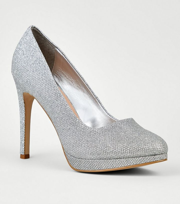 Silver Glitter Platform Stiletto Courts  8fcf48616