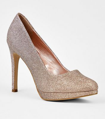 Rose Gold Platform Pointed Stiletto Court Shoes