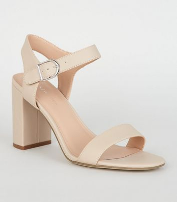 Nude Leather-Look 2 Part Block Heel Sandals