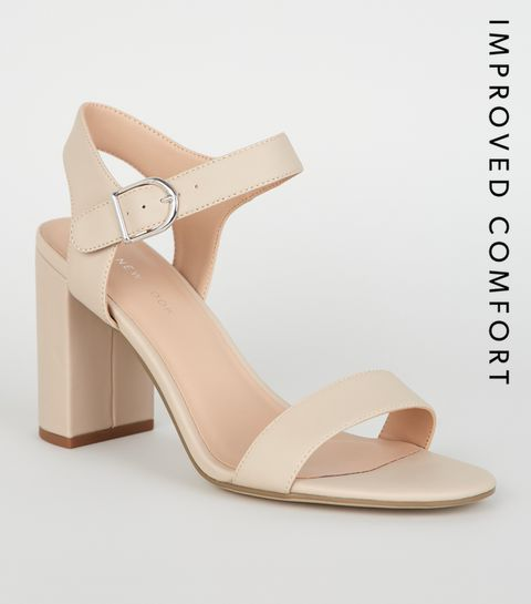 33a11eacd46 ... Nude Leather-Look 2 Part Block Heel Sandals ...
