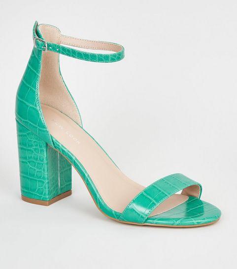 abb935940934 ... Green Neon Leather-Look 2 Part Block Heels ...