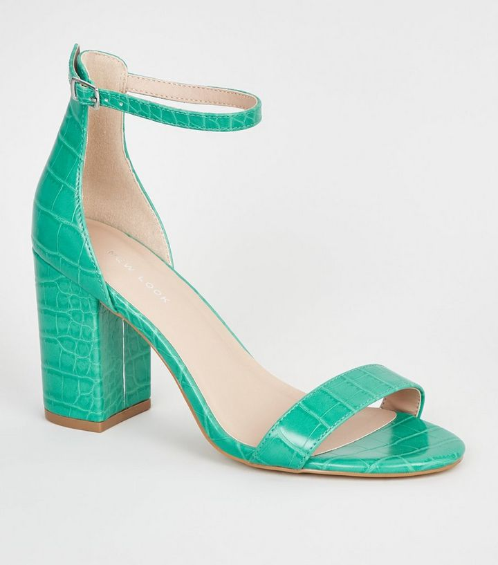 a2b32de126ef Green Neon Leather-Look 2 Part Block Heels
