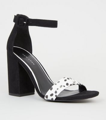 White Spot Strap Block Heel Sandals