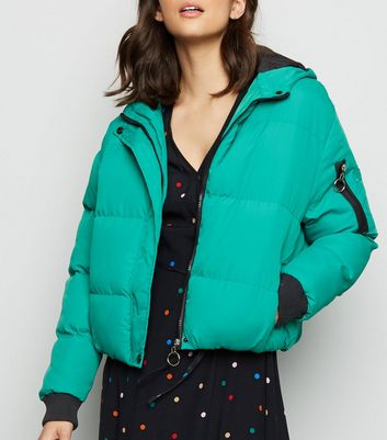 Blue Vanilla Green Hooded Cropped Puffer Jacket