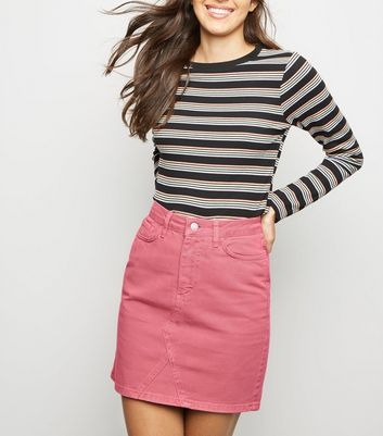 Pink Denim Mom Skirt