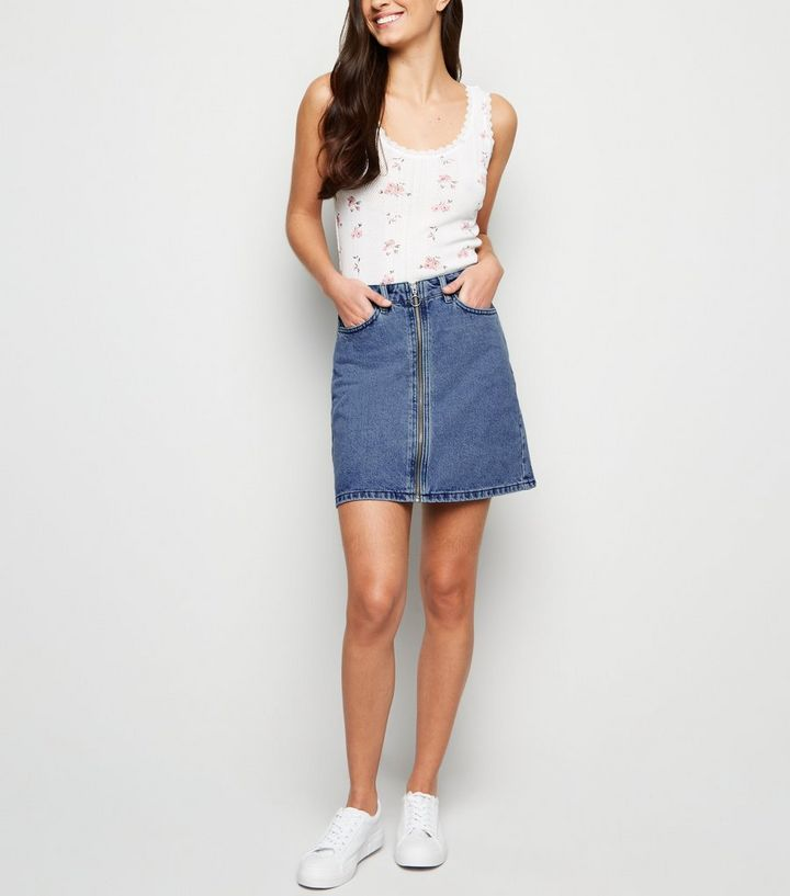 Blue Zip Front Denim Mini Skirt New Look