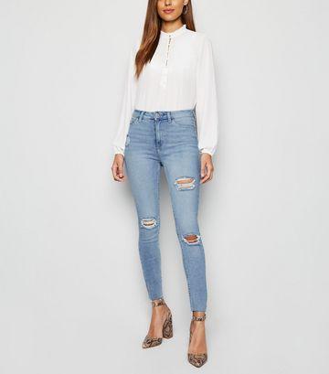 Light Blue Ripped Super Skinny Hallie Jeans
