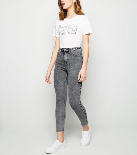 526650c55f8 Grey Acid Wash High Waist Super Skinny Hallie Jeans ...