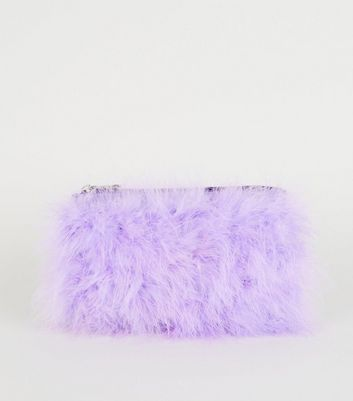 Lilac Feathers Chain Shoulder Bag