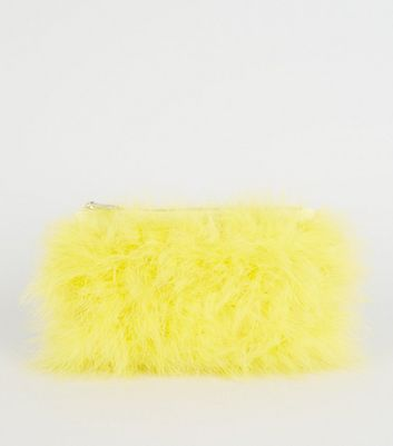 Yellow Feathers Chain Shoulder Bag