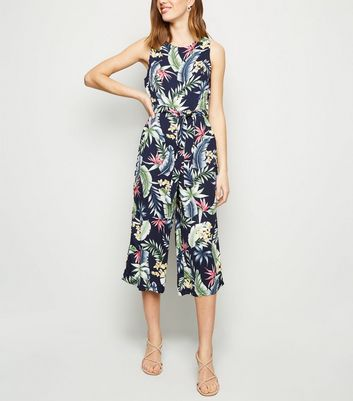 Mela Blue Tropical Culotte Jumpsuit