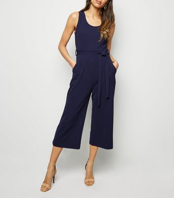 Mela Navy Belted Stretch Culotte Jumpsuit