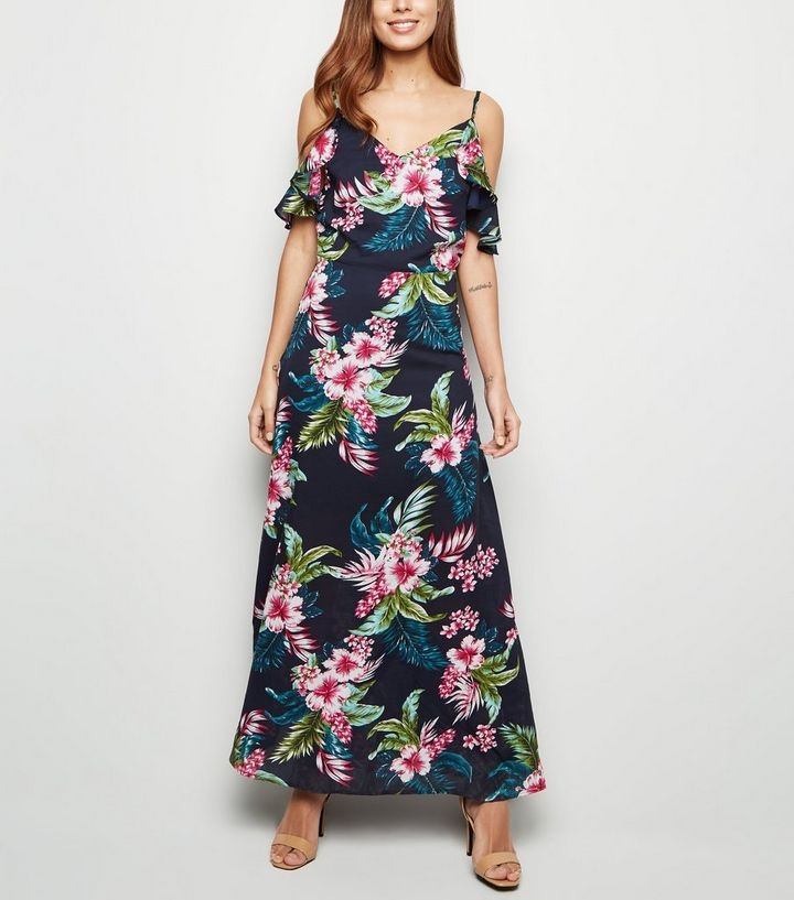 80e6400df7b Mela Blue Tropical Cold Shoulder Maxi Dress Add to Saved Items Remove from  Saved Items