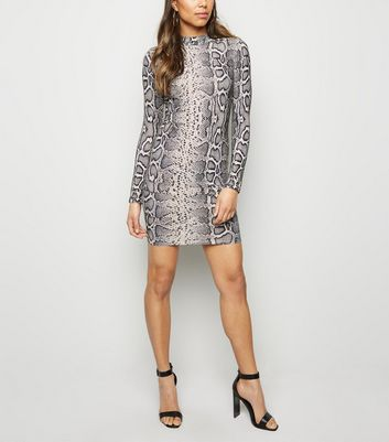 Grey Snake Print Glitter Bodycon Dress