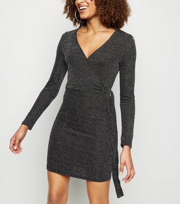 Blue Vanilla Black Glitter Wrap Mini Dress