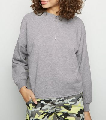 Grey Marl Half Zip Sweatshirt