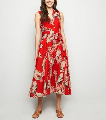 Blue Vanilla Red Tropical Leaf Midi Dress