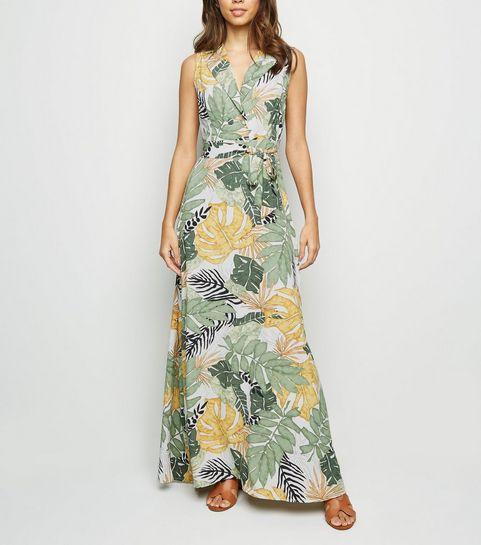 9c987ef0b6 ... Blue Vanilla Green Tropical Leaf Maxi Dress ...