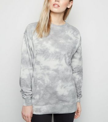Light Grey Tie Dye Oversized Sweatshirt
