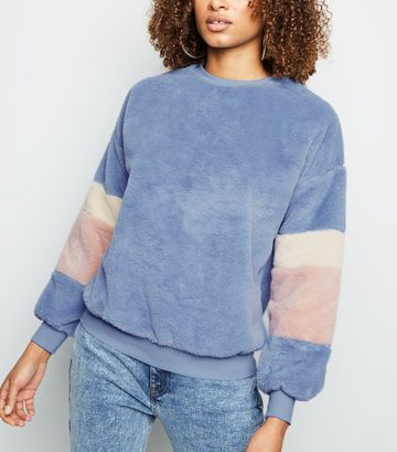 Blue Colour Block Faux Fur Sweatshirt