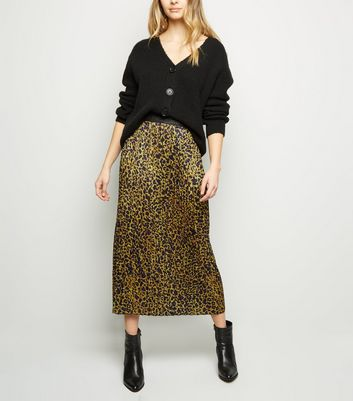shop for Tokyo Doll Yellow Leopard Print Pleated Midi Skirt New Look at Shopo