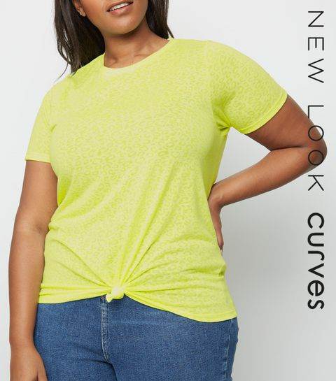 103f73ae639 ... Curves Yellow Neon Leopard Burnout T-Shirt ...