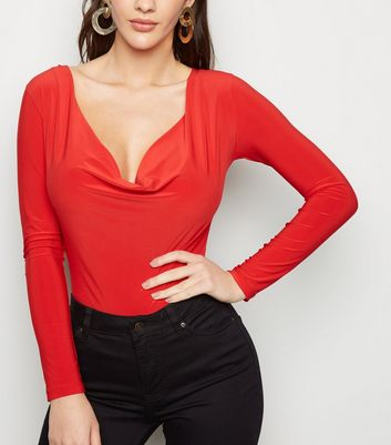 Red Cowl Neck Long Sleeve Bodysuit