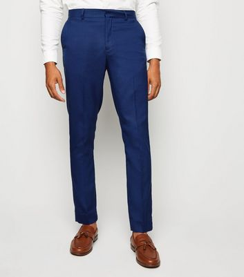 Bright Blue Skinny Suit Trousers