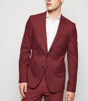 Dark Red Skinny Suit Jacket by New Look