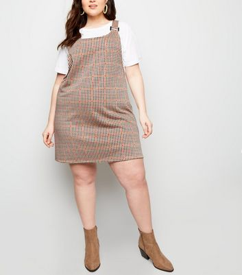 Curves White Houndstooth Pinafore Dress