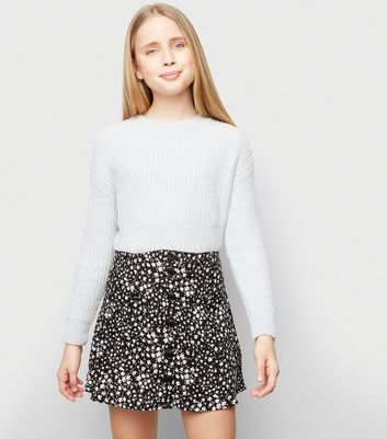 Girls Black Floral Button Up Mini Skirt