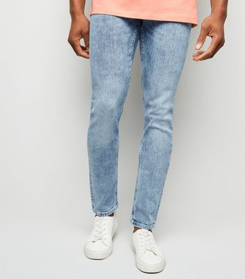 Blue Acid Wash Skinny Stretch Jeans