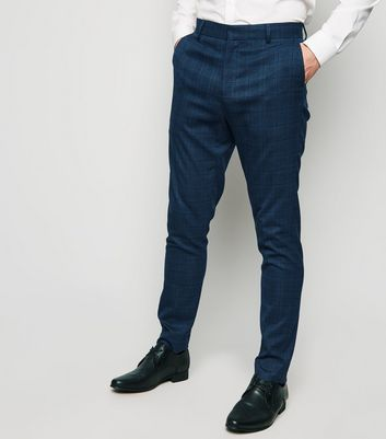 Navy Grid Check Skinny Suit Trousers