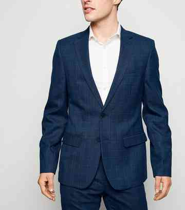 Navy Grid Check Skinny Suit Jacket