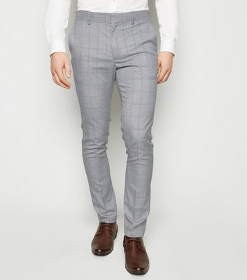 Pale Grey Check Skinny Trousers