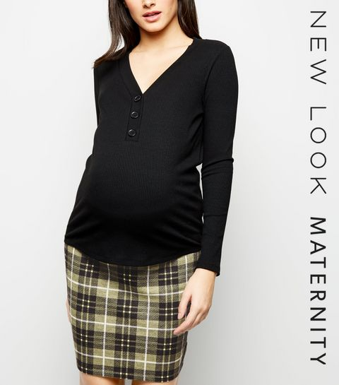 466c4def339 ... Maternity Yellow Check Jersey Tube Skirt ...