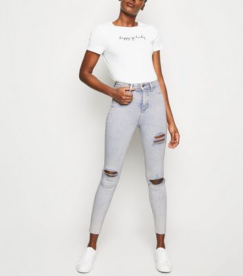 Grey Acid Wash Ripped Super Skinny Hallie Jeans