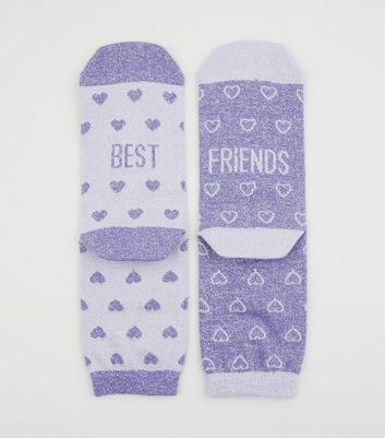 2 Pack Purple Glitter Best Friends Socks