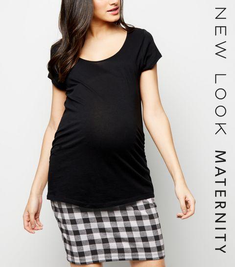 409cee814815f ... Maternity Black Gingham Check Jersey Tube Skirt ...