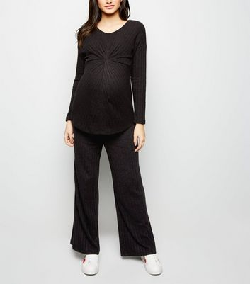 Maternity Black Ribbed Knit Trousers