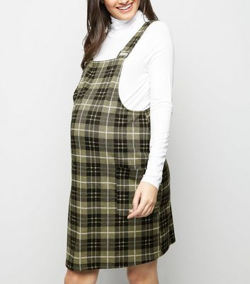 Maternity Yellow Check Pinafore Dress