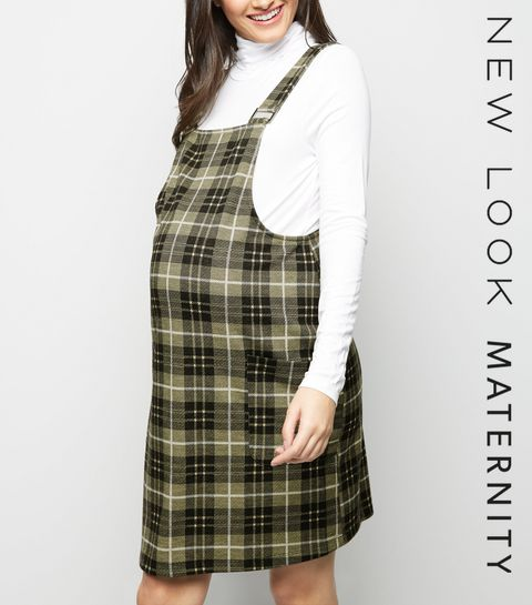 6e0e333d396 Maternity Yellow Check Pinafore Dress · Maternity Yellow Check Pinafore  Dress ...