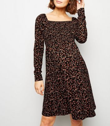 Maternity Black Floral Long Sleeve Soft Touch Dress