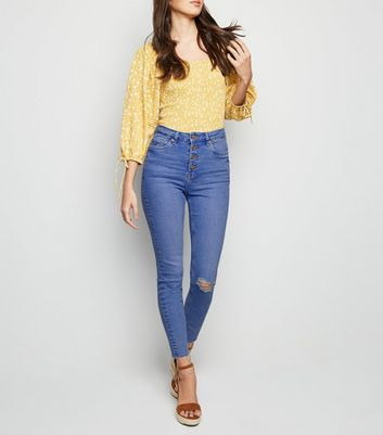 Mid Blue Ripped High Waist Super Skinny Hallie Jeans