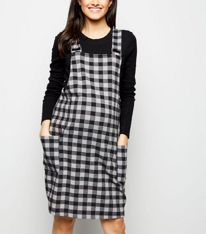 a9b9c3fc073 Maternity Black Gingham Jacquard Pinafore Dress